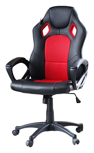 41d5if7y5AL - Video-Gaming-Chair-Home-Office-Computer-Chair-With-Height-Adjustable-Ergonomic-Lumbar-Support-Mesh-High-Back-Racing-Chair-Red