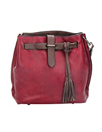 Jocestyle Pu Leather Bucket Bag Tassel Crossbody Shoulder Bags Handbag