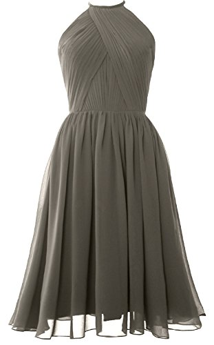 Chiffon Bridesmaid Pewter Halter Women Back Gown Short Dress Open with Cocktail MACloth STCnxHw