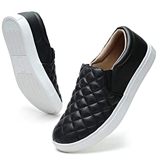 STQ Loafers for Women Quilted Slip On Sneakers Casual Comfort Memory Foam Fall Shoes Black 8