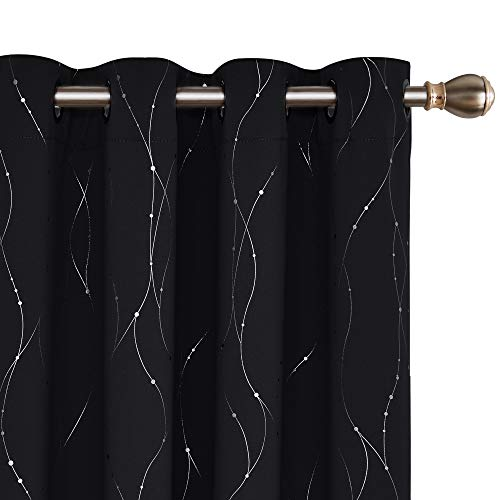 Deconovo Wide Blackout Curtains Thermal Insulated Patio Door Curtain Panel Wave Line with Dots Foil Printed Grommet Curtains for Sliding Glass Door 100W x 95L Inch Black 1 - Door Panels Unique