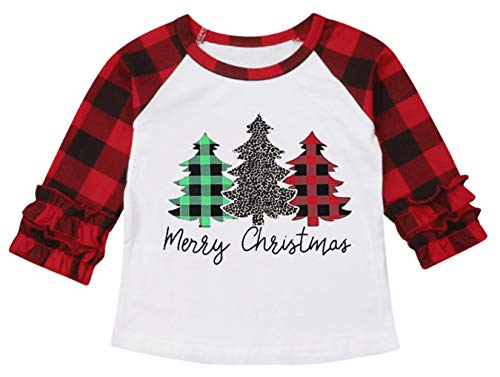 UNIQUEONE Baby Girls Boys Merry Christmas T-Shirt Christmas Truck Tree Print Tops Long Sleeve Raglan Tee (Red, 3-4Years/Tag120) (Merry Girl Christmas)