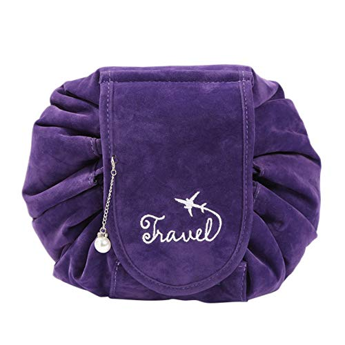 Bestdoll Portable Travel Drawstring Makeup Bags for Women Pouch Plush Storage Bag