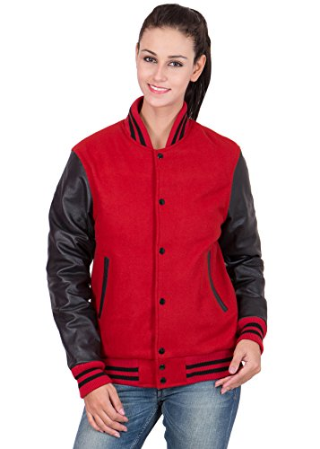 (Caliber Apparels Scarlet Red Leather Sleeves & Black Wool Body Varsity Jacket-Women 2X-L)