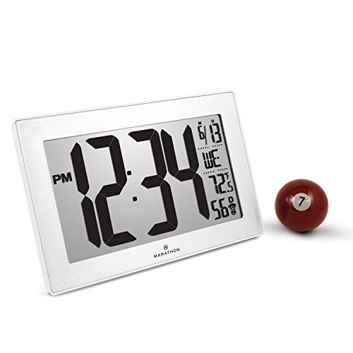 Marathon CL030068WH-SS Atomic Self-setting Self-adjusting Wall Clock w/Stand & 8 timezones - Batteries Included (White/Stainless Steel)