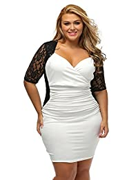Lady Swain Women's V Neck Half Sleeve Ruched Lace Illusion Plus Size Bodycon Dress