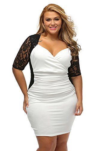 Lady Swain Women's V Neck Half Sleeve Ruched Lace Illusion Plus Size Bodycon Dress (XL, Black ()