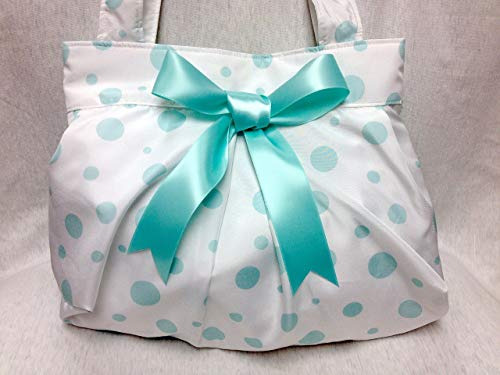 (The Bubble Purse: Polka Dot Shoulder Purse (White with Aqua))