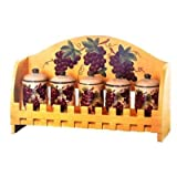 KITCHEN SPICE JAR 5PC GRAPE TUSCANY WINE DECOR