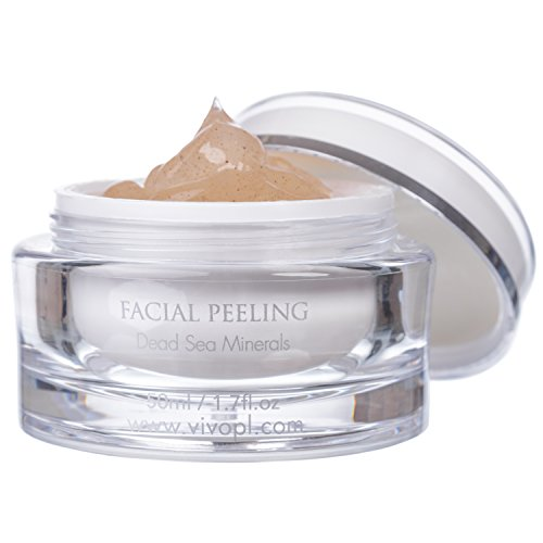 Vivo Per Lei Facial Peeling Gel | Contains Dead Sea Minerals and Nut Shell Powder | Gentle Face Exfoliator Scrub and Blackhead Remover | Peel Your Skin to a Fresher You | 1.7 Fl. Oz. (Mineral Face Sea Dead)