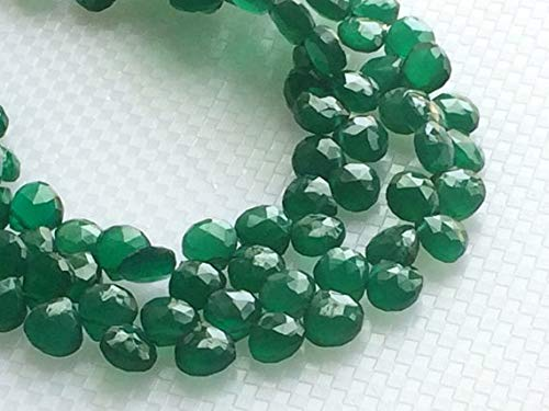 KALISA GEMS Beads Gemstone 1 Strand Natural Green Onyx Faceted Heart Beads, Green Onyx Heart Briolettes, Emerald Green Onyx, Green Onyx Necklace, 7mm, 3.5 Inch