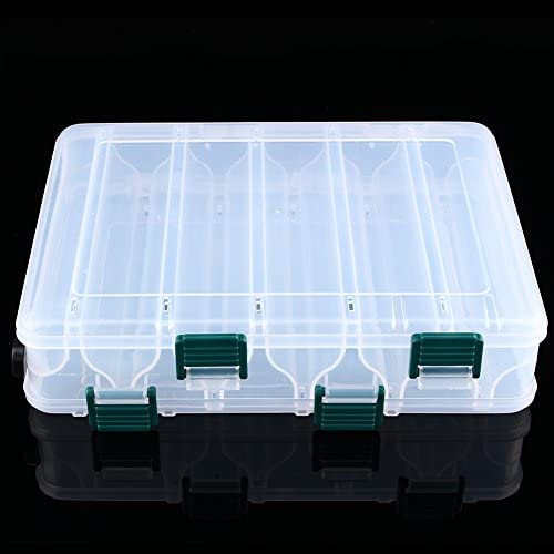Doppia Porta Laterale per Contenitore per Esche Contenitore Trasparente per Esche Artificiali con Esche Artificiali