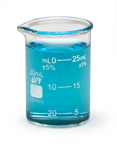 WPI CG-0003 Borosilicate Glass Griffin Beaker with Spout, 30mL Capacity (Pack of 12)