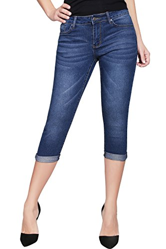 2LUV Women's Stretchy 5 Pocket Skinny Capri Jeans Medium Denim 7(JS-2817C) (Capri Denim Pocket)