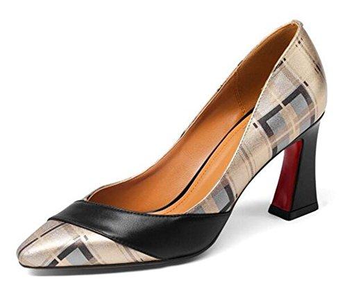 Frauen bis Heel Pumps Leder Block Schuhe aus 42 Gitter 35 Größe Büroarbeit echtem rFWrPwq