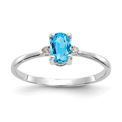 (14k White Gold Diamond Blue Topaz Birthstone Band Ring Size 6.00 Stone December Oval Fine Jewelry Gifts For Women For Her)