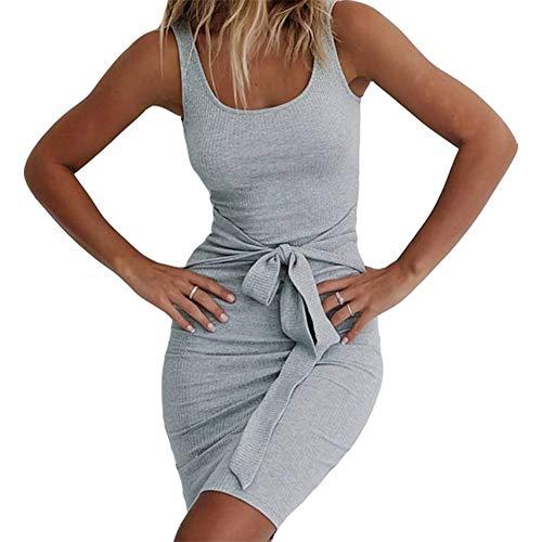 PALINDA Women's Sleeveless Bandage Front Bow Ribbed Casual Bodycon Mini Tank Dress(XL, Grey)