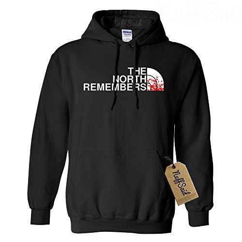 NuffSaid North Remembers Got Thrones Hoodie Sweatshirt Sweater Pullover - Unisex (Large, Black)