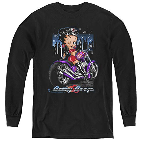 Betty Boop City Chopper Youth Long Sleeve T Shirt, Large Black