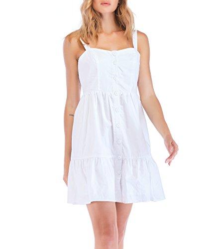 Crossover Dress Bodice (NALATI Womens Summer Spaghetti Strap Button Down A-Line Backless Swing Midi Dress (S(US4-6), White))