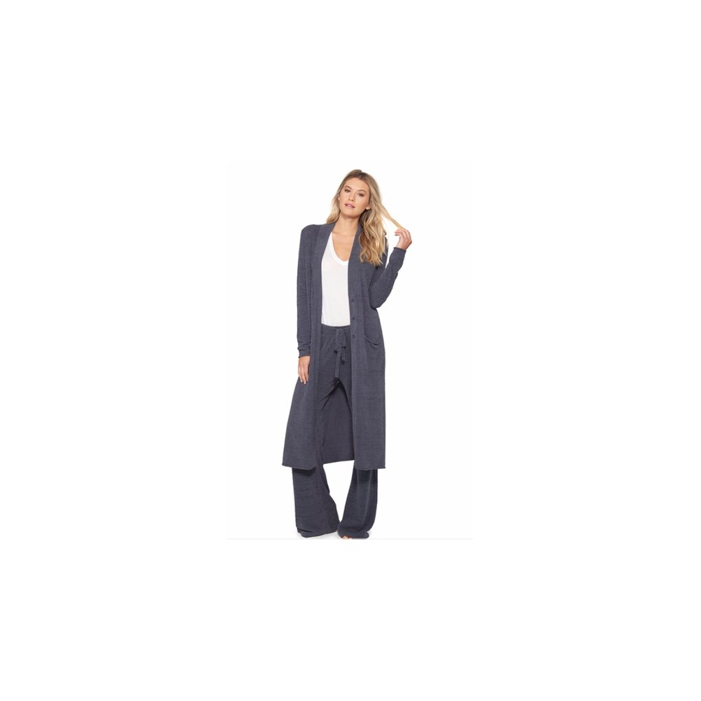 Barefoot Dreams CozyChic Ultra Lite Women's Duster, Long Sleeve, Open Front Long Maxi Cardigan Duster With Two Pockets (LG, Pacific Blue) by Barefoot Dreams