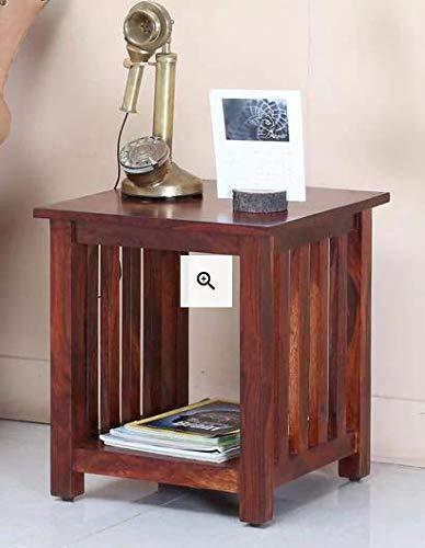 Furny Erick Teak Wood Bedside Table In Honey Oak Polish