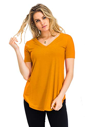Relaxed Fit Premium Short Sleeve V-Neck Round Hem Top Shirts Ash Mustard 2X