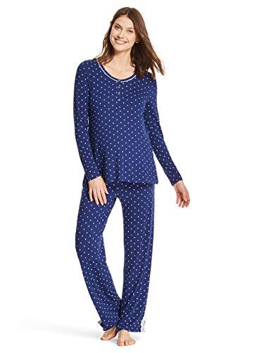 - LAMAZE Intimates Womens Maternity Long Sleeve Shirt and Elastic Waist Pajama Pants Set Navy Medium