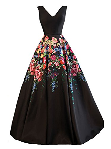[PROMNOVAS Women's Flower Printed V-Neck Long Evening Dress] (Plus Size Evening Wear)