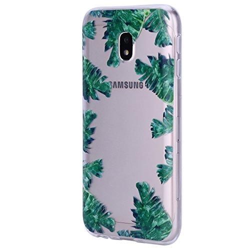 Hülle für Samsung Galaxy J3 2017, Schutzhülle für Samsung Galaxy J3 2017, Ysimee Relief Linderung TPU Silikon Bumper Hülle Ultradünnen Weiche Telefon-Kasten Handyhülle Transparent Backcover Soft Etui  Blätter