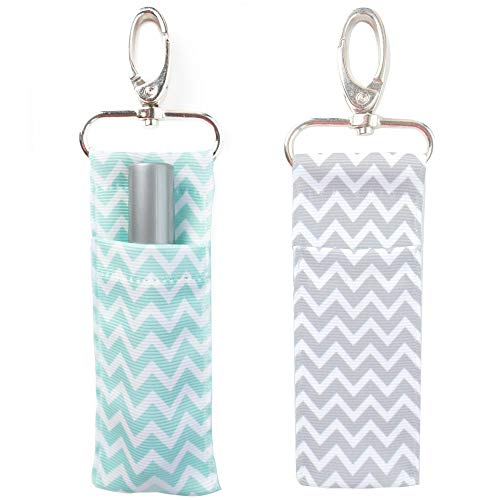 Chapstick Keychain Holder. 2 Pack Lip Balm Holder in Chevron Colors. Mint & Gray