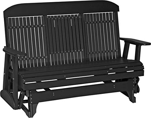 LuxCraft Poly Lumber Classic Highback 5ft Outdoor Patio Glider with Flip Down Center Console with Two Cup Holders - Black