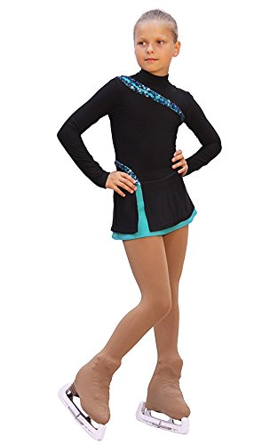 IceDress - Figure Skating Dress - Lasso(Black with Mint) (CXS) by IceDress