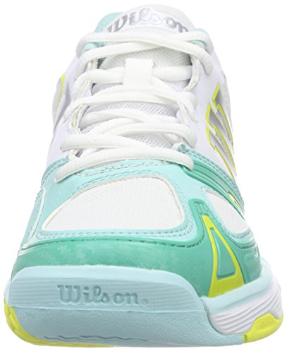 Wilson Rush Evo W, Zapatillas de Tenis Para Mujer, Blanco (White/Aruba Blue/Corona Yellow), 40 EU