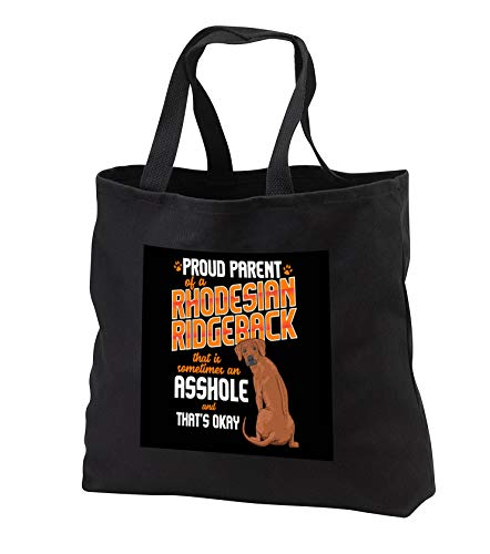 - 3dRose Sven Herkenrath Dog - Proud Parent of an Rhodesian Ridgeback Dog - Black Tote Bag JUMBO 20w x 15h x 5d (tb_317128_3)