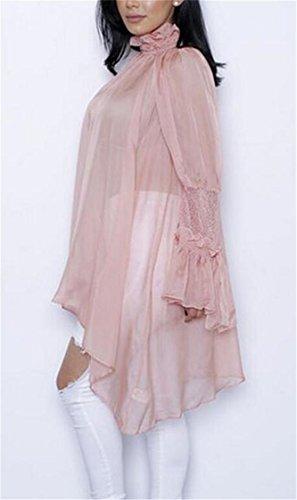 La Mode Domple Des Femmes See-through Robe En Mousseline De Soie Irrégulière Balançoire Col Rose