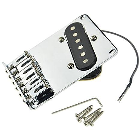 Cromado Puente para guitarra eléctrica con pastilla para guitarra Telecaster: Amazon.es: Instrumentos musicales