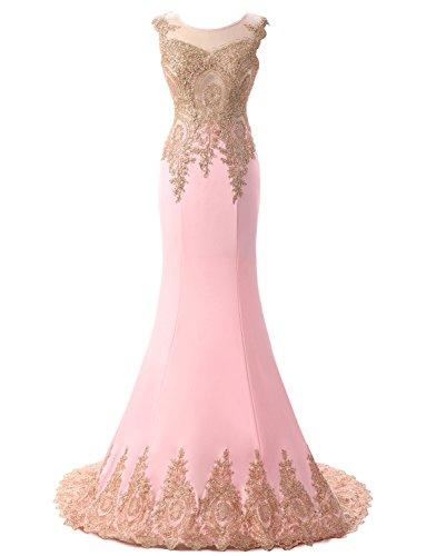 Ballkleid Meerjungfrau Abendkleider Lange Applikationen Rosa Gold Erosebridal Ärmel Ärmellos YvSFTwqvzx