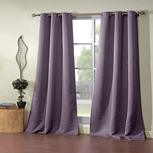 (Duck River Textiles - Steyna Solid Faux Silk Textured Blackout Room Darkening Grommet Top Window Curtains Pair Panel Drapes for Bedroom, Living Room - Set of 2 Panels - 38 X 84 Inch - Lilac)