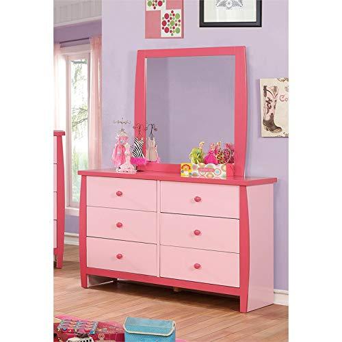 Furniture of America Devon 6 Drawer Dresser and Mirror Set in Pink (Dresser Portrait Mirror)