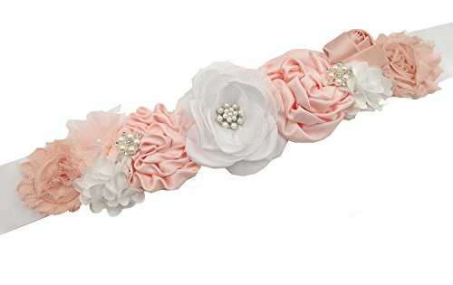 RoyaLily Flower Maternity Pregnancy Sash Belt Vintage Crystal Belt for Wedding Party (White Pink)