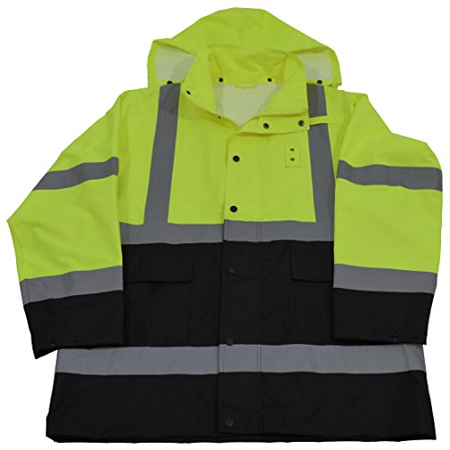 Tone Flap Two (Petra Roc LBRJK-C3-3X Rain Parka Jacket ANSI/ISEA Class 3 Waterproof, Two Tone Lime/Black with Detachable Hood, Storm Flap & Zipper/Snap Closure, No Lining, 3X)