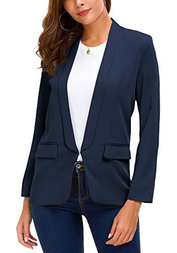 Women's Business Blazer Office Jacket Open Front Work Suit (L, Navy Blue)