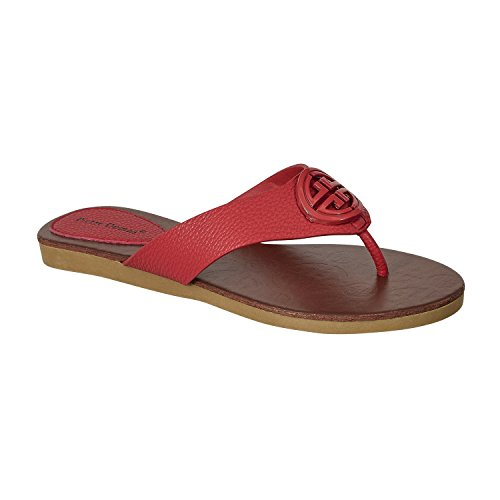 Pierre Limit Sandals Leather Ornamented 11 Strap Flats tami2 Thong Vegan Women's T Dumas Red rrqBxnU