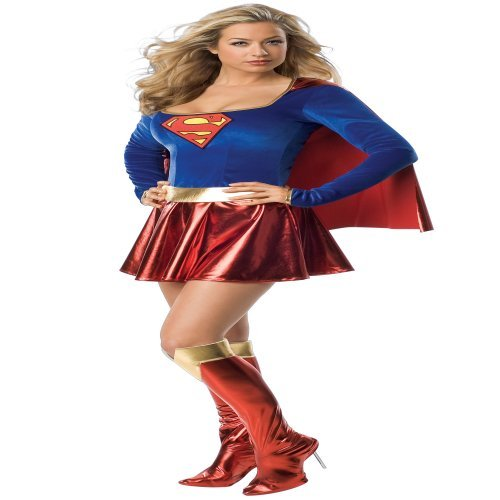 Secret Wishes  Supergirl Costume, Red/Blue, Large