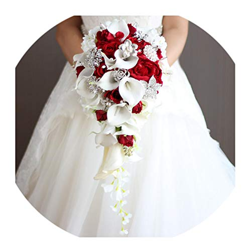 Vintage Rose Crystal - Saimer-Store Wedding Bouquet Rose Bouquet with Crystal Waterfall Vintage Pearl White Artificial Flowers Bouquet,Red