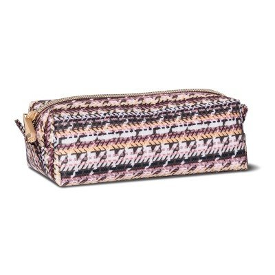 Sonia Kashuk153; Cosmetic Bag Large Pencil Case Broken Houndstooth MULTI-COLORED