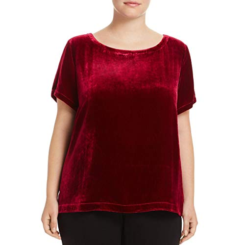 Eileen Fisher Womens Plus Velvet High-Low Pullover Top Red 1X