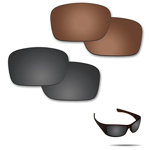 Fiskr Anti-saltwater Polarized Replacement Lenses for Oakley Hijinx Sunglasses 2 Pairs Packed (Stealth Black & Bronze Brown) (Sunglasses Replacement Lenses Bronze Mirror)