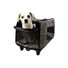 Pet Smart Cart, Small, Leopard, Rolling Carrier with wheels soft sided collapsible Folding Travel Bag, Dog Cat Airline Approved Tote Luggage backpack